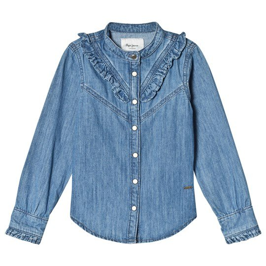 Pepe Jeans Blue Rosy Ruffle Detail Denim Shirt 000
