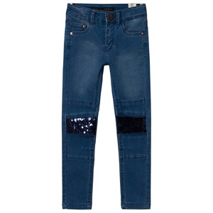 Image of IKKS Blue Skinny Jeans with Sequin Knees 10 years (2920301539)