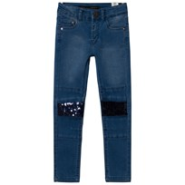 IKKS Blue Skinny Jeans with Sequin Knees 86