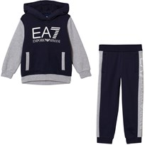Armani Junior Navy and Grey EA7 Branded Tracksuit 25BH