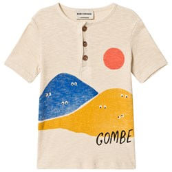 Bobo Choses Mountains Buttons T-Shirt Buttercream