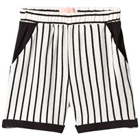 BANG BANG Copenhagen White and Black Stripe Ciao Shorts Black and White