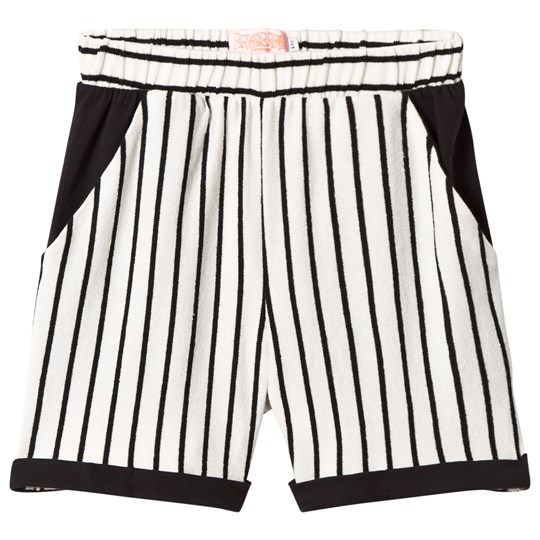 Wauw Capow White and Black Stripe Ciao Shorts Black and White