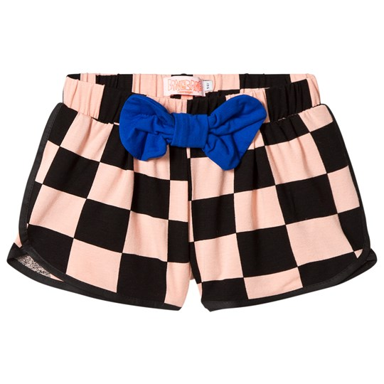 Wauw Capow Pink and Black Check Bow Sonja Shorts Pink and Black