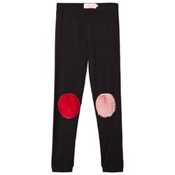 Wauw Capow Black Faux Fur Knee Patch Funny Legs Leggings