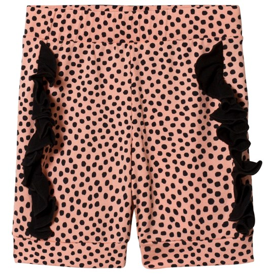Wauw Capow Spot Pop Dot Frill Shorts Rosa Pink and Black