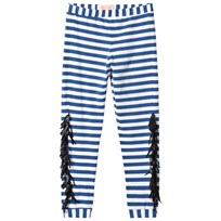 BANG BANG Copenhagen Blue and White Stripe Fringe Wayne Leggings Blue