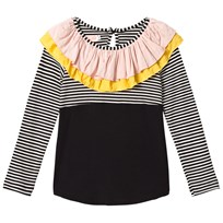 BANG BANG Copenhagen Black and White Stripe Frill Alma Top Black and White