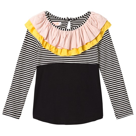 Wauw Capow Black and White Stripe Frill Alma Top Black and White