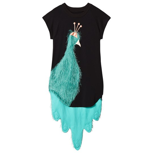 Wauw Capow Exclusive Black and Green Peacock Dress Black