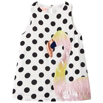BANG BANG Copenhagen White and Black Spot Flamingo Sugar Dress White and Black