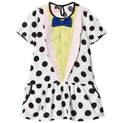 Wauw Capow White and Black Spot Bow Detail Dress