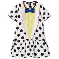 BANG BANG Copenhagen White and Black Spot Bow Detail Dress Black and White