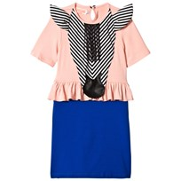BANG BANG Copenhagen Pink and Blue Zebra Applique True Trophy Frill Dress Pink