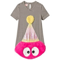 BANG BANG Copenhagen Black and White Stripe Pink Fluffy and Sequin Tee Dress Pink