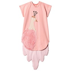 Wauw Capow Pink Fluffy Peacock Dress