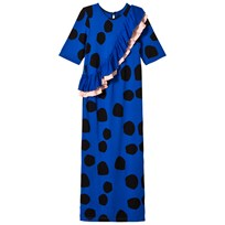 BANG BANG Copenhagen Blue Spot Frill Barcelona Maxi Dress BLULE