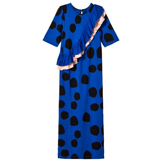 Wauw Capow Blue Spot Frill Barcelona Maxi Dress BLULE