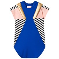 BANG BANG Copenhagen Blue and Stripe Panelled Elvira Cool Dress Blue
