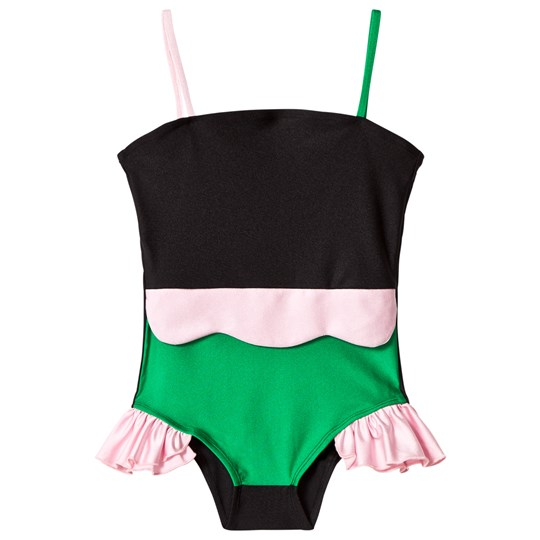 Wauw Capow Black and Pink Frill Maria Mermaid Swimsuit BLACK, PINK AND GREEN