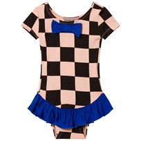 BANG BANG Copenhagen Pink and Black Check Frill Dancing Dora Leotard Pink and Black
