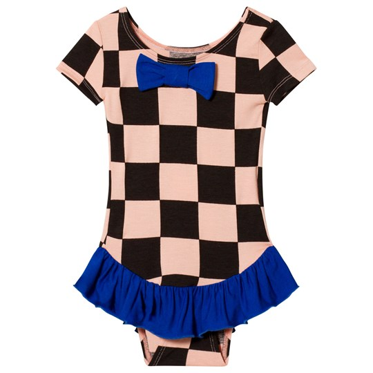 BANGBANG Copenhagen Pink and Black Check Frill Dancing Dora Leotard Pink and Black