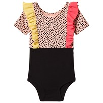 BANG BANG Copenhagen Pink and Black Spot Frill Mila Leotard Pink and Black