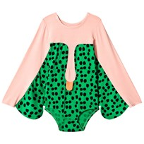 BANG BANG Copenhagen Pink and Green Spot Swan Electra Leotard Pink and Green