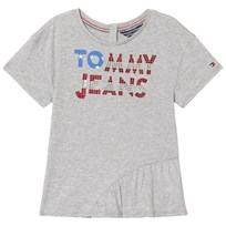 Tommy Hilfiger Grey Sequin Branded Enthusiastic Tee 060