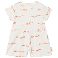Tinycottons Bon Appétit Relaxed Romper Off-White/Carmine off-white/carmine