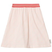 Tinycottons Grid Mid-Length Skirt Off-White/Carmine off-white/carmine