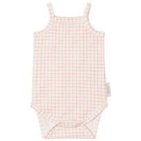 Tinycottons Grid Baby Body Off-White/Carmine off-white/carmine