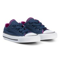 Converse Navy and Pink Chuck Taylor All Star Double Tongue OX Infants Trainers BLACK/WHITE/BLACK