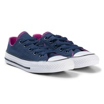 Converse Navy and Pink Chuck Taylor All Star Double Tongue OX Junior Sneakers BLACK/WHITE/BLACK