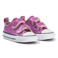 Converse Pink Glitter Rubber Chuck Taylor All Star 2V OX Infants Trainers BLACK/WHITE/BLACK