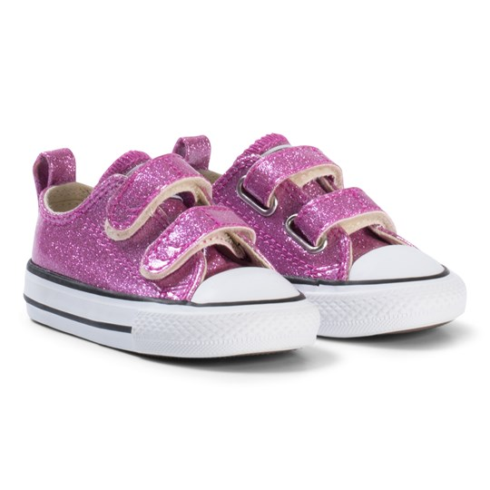 b4f0b4301a2a1d Converse Pink Glitter Rubber Chuck Taylor All Star 2V OX Infant Sneakers  BLACK WHITE