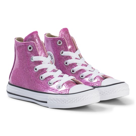 2fbc4f163a95 Converse Pink Glitter Rubber Chuck Taylor All Star Junior Hi Tops  BLACK WHITE BLACK