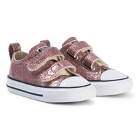 Converse Rose Gold Glitter Rubber Chuck Taylor All Star 2V OX Infants Trainers BLACK/WHITE/BLACK