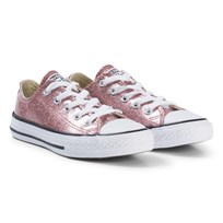 Converse Rose Gold Glitter Rubber Chuck Taylor All Star OX Junior Trainers BLACK/WHITE/BLACK