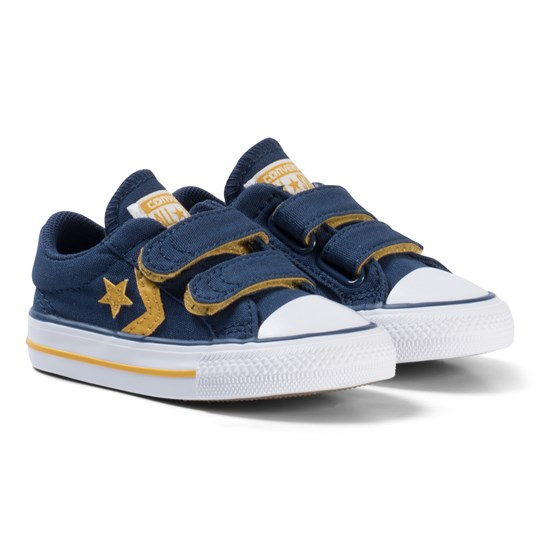 Converse Navy and Yellow Star Player EV 2V OX Infant Sneakers BLACK/WHITE/BLACK