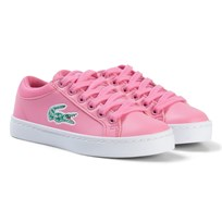 Lacoste Pink and White Straightset Lace Kids Trainers Pink/White