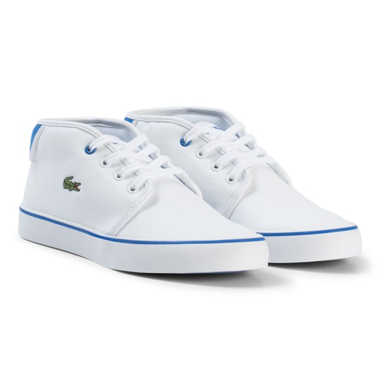 Lacoste White and Blue Ampthill Junior Trainers White/Blue
