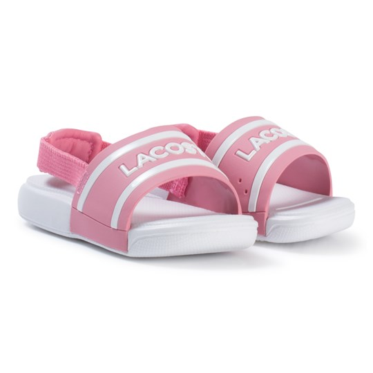 Lacoste Pink and White Branded Infants Sling Back Sliders Pink/White