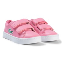 Lacoste Pink and White Straightset Velcro Infant Trainers Pink/White
