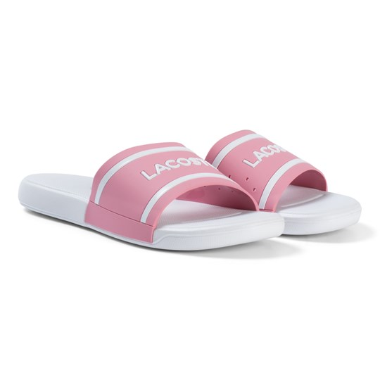 Lacoste Pink and White Branded Junior Sliders Pink/White