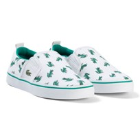 Lacoste White and Green Croc Print Gazon Kids Shoes White/green