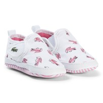 Lacoste White and Pink Gazon Croc Print Crib Trainers White/Pink