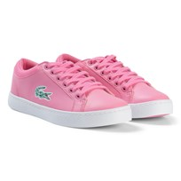 Lacoste Pink and White Straightset Lace Junior Trainers Pink/White