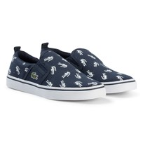 Lacoste Navy and White Croc Print Gazon Kids Shoes Navy/White
