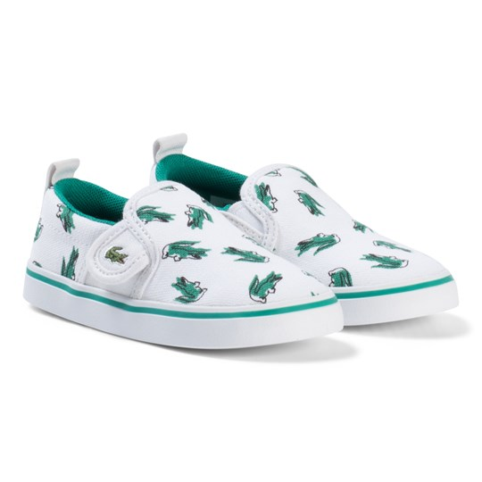 Lacoste White and Green Croc Print Gazon Infant Shoes White/green